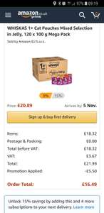 WHISKAS Cat Pouches Mixed Selection in Jelly, 120 x 100 g Mega Pack £16.49 S&S Amazon