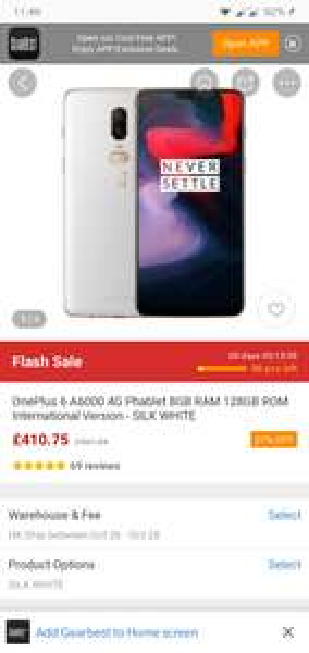 Oneplus 6  8/128gb gearbest uk flash offer £410.75 @ Gearbest