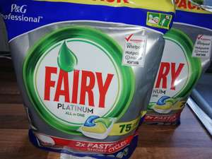 2 packs of 75 fairy platinum all in one lemon dishwasher tablets for £18 at tesco