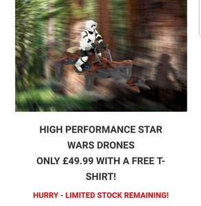HIGH PERFORMANCE STAR WARS DRONESONLY £49.99 WITH A FREE T-SHIRT (14.99)! at IWantOneOfThose