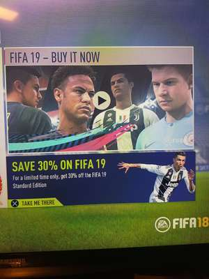30% off FIFA 19 standard edition via FIFA 18 (PS4) via PSN - Account Specific