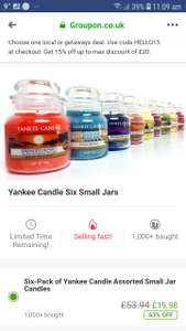 6 small Yankee candle jars £19.98 / £21.97 delivered @ groupon