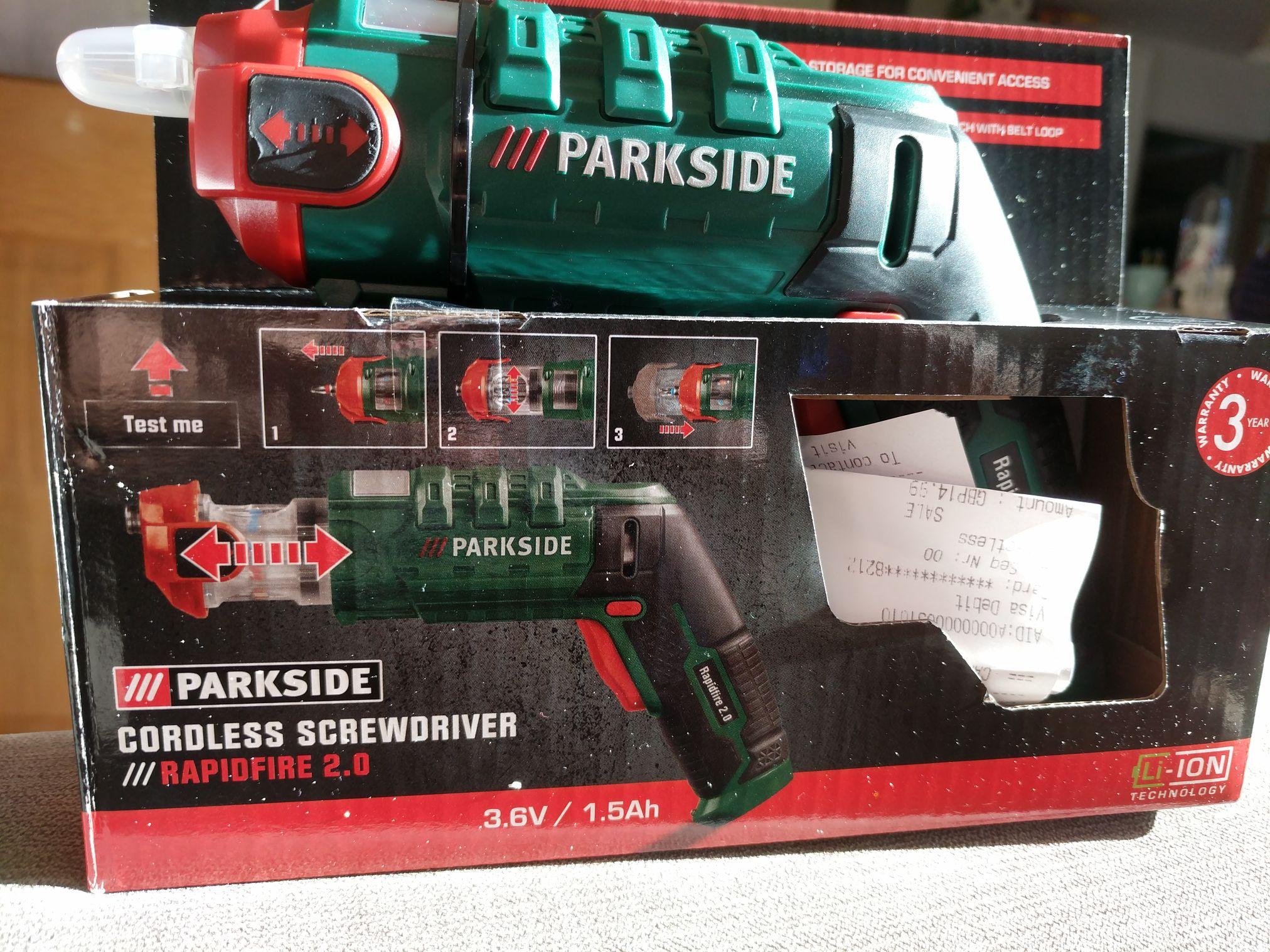 Lidl parkside cordless screwdriver 3.6v/1.5Ah with rapid fire integrated bit holder (holster included!!) £14.99 instore