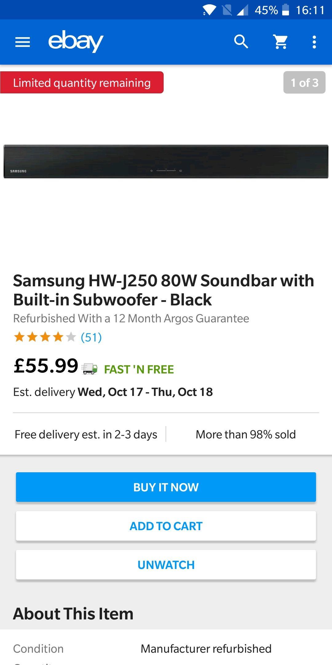 Samsung HW-J250 80W Soundbar with Built-in Subwoofer Refurbished £55.99 @ Argos Ebay