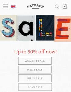 Fat face sale up to 50% off Men's, Women's & Kids