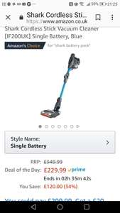 Shark cordless duoclean. £120 cheaper then Argos/Curry's - £229.99 @ Amazon