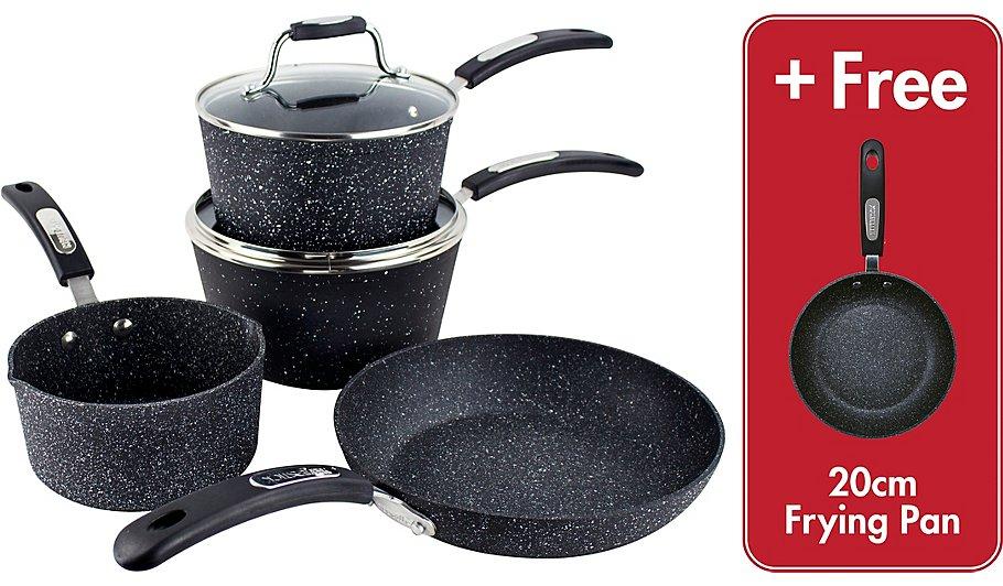 Scoville Neverstick 4 piece saucepan & frying pan cookware set + Free frying pan  + lifetime guarantee now £35 (more items) @ Asda C+C