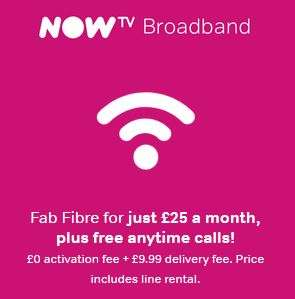 Now TV broadband Inc Anytime calls to mobiles £25/12 mth + £9.99 'delivery'