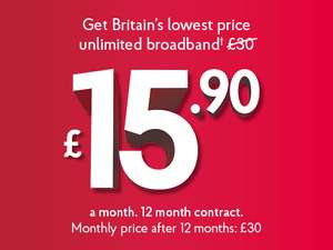 ADSL Broadband £15.90 a month 12 months - £190.80 @ Post office (new customers)