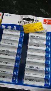 Half price AA batteries 16pk £1.99 @ Poundstretcher