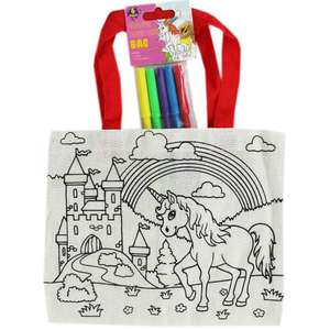 Colour Your Own canvas Bag with 5 pens assorted designs inc unicorn-ONLY 80p with code free C&C  @ The Works