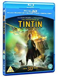 Lowest price ever - The Adventures of  TinTin - 3D + Blu Ray + DVD + Digital - £4.79 (Prime) £7.78 (Non Prime) @ Amazon