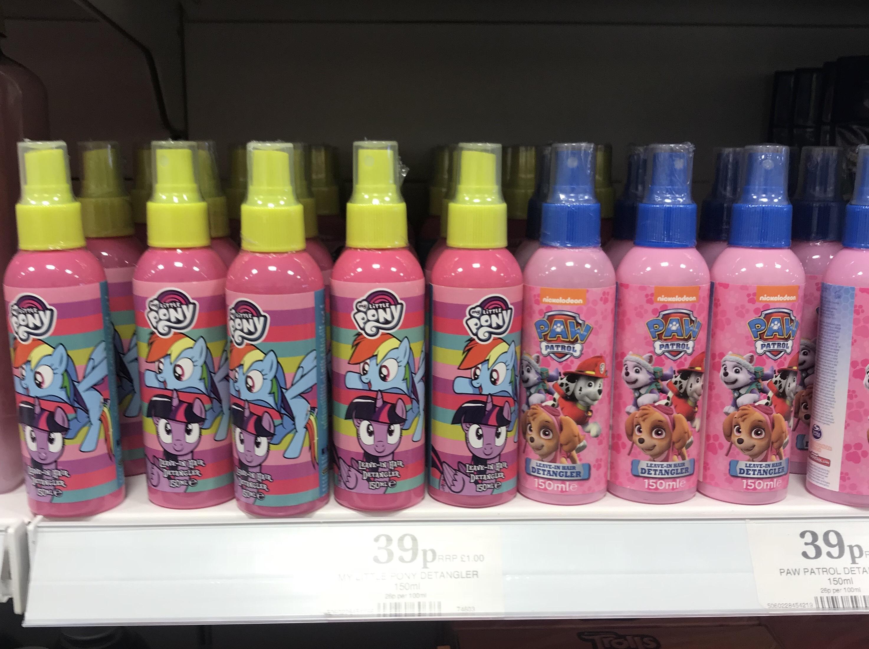 Kids my little pony/paw patrol detangle spray 39p @ Home Bargains