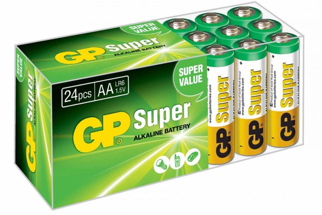 GP Super Alkaline AA Batteries Box of 24 for £4.99 Free C&C @ Ryman