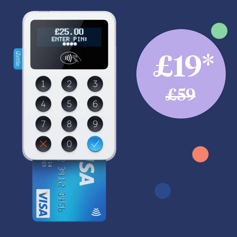 iZettle card reader now £19+vat (£22.80) usually £59 @ iZettle