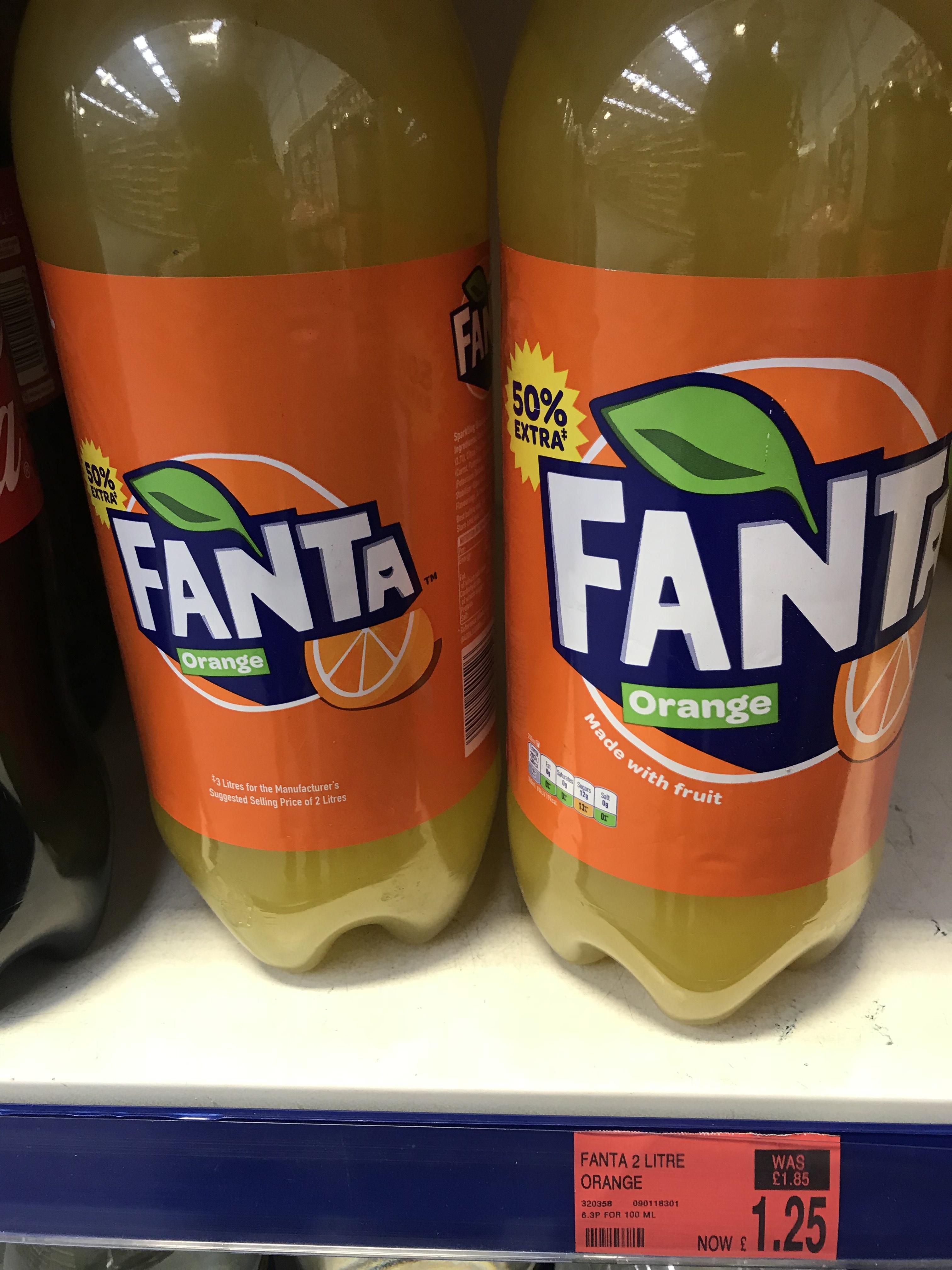 3 litres of orange Fanta for £1.25 at B+M