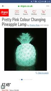 Pretty Pink Colour Changing Pineapple Lamp £7.49 At Argos