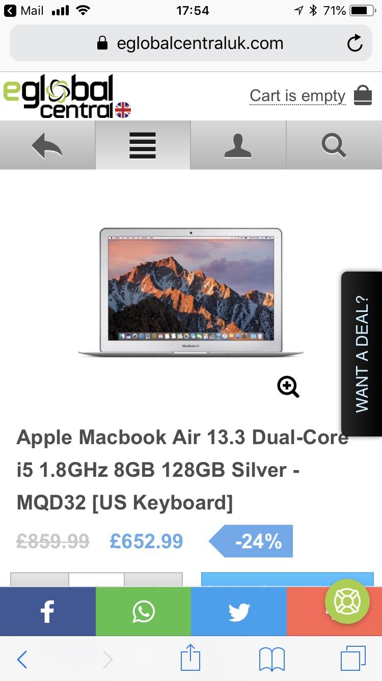 Apple MacBook Air 128gb US keyboard was 859.99 now 652.99 @ Eglobal Central