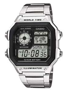 80ies style Retro LCD Watch CASIO Collection Men's Watch AE-1200WH £22.99 (steel) or £21.77 (black) Worldtime Illuminator @ Amazon