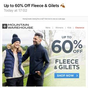 Up to 60% off mountain warehouse fleeces and gilets