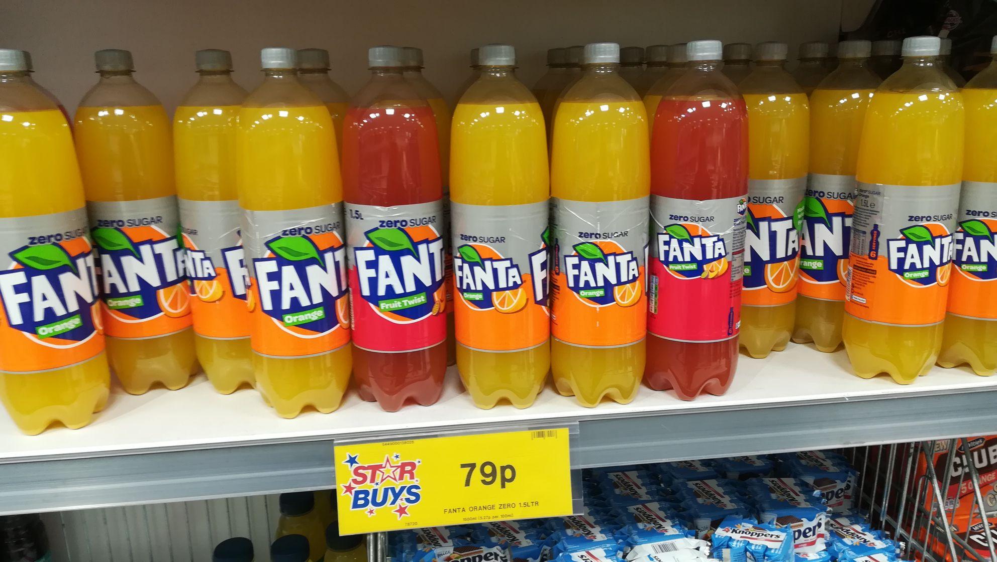 Fanta Zero Sugar - Orange / Fruit Twist - 1.5 litres - Home Bargains In-store - 79p