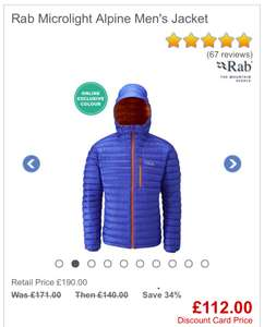 Rab microlight alpine down jacket multiple colours from men's S-XXL /women's 8-16 (C&C) @ go outdoors £112