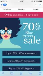 Debenhams blue cross sale upto 70% off selected lines - 4days only!