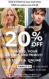 20% off new look family & friends instore and online