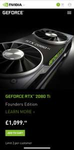 Nvidia GeForce RTX 2080 Ti now available to purchase on the official UK Nvidia site - £1099