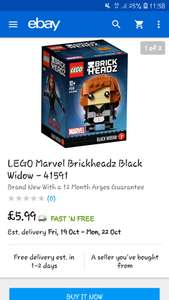 Lego marvel brickheadz - black widow 41591 £5.99 @ Argos Ebay
