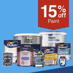 15% off on top of existing paint offers @ Wickes - E.G 2x Dulux 2.5L Emulsion £22.10 / 15% off Flooring in OP