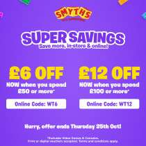 Heads up - from 8pm tonight get £6 off £50 spend and £12 off £100 spend online and instore @ Smyths Toystores