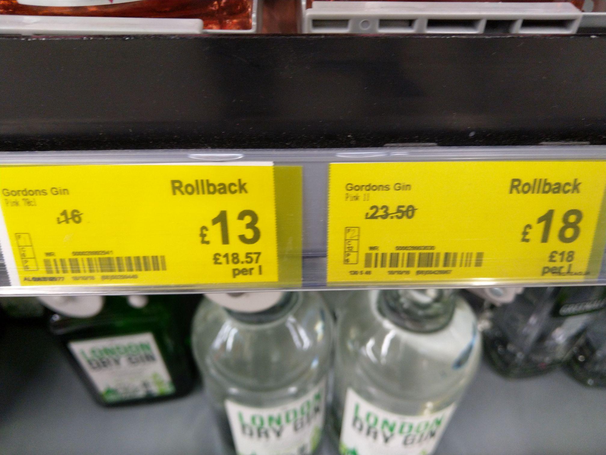 Gordon's pink gin 1L £18, 70 cl £13 - Asda