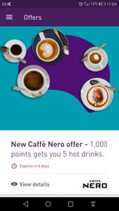 5 hot drinks at NERO for 1000 nectar points (£5) in the nectar app - ie £1 each!