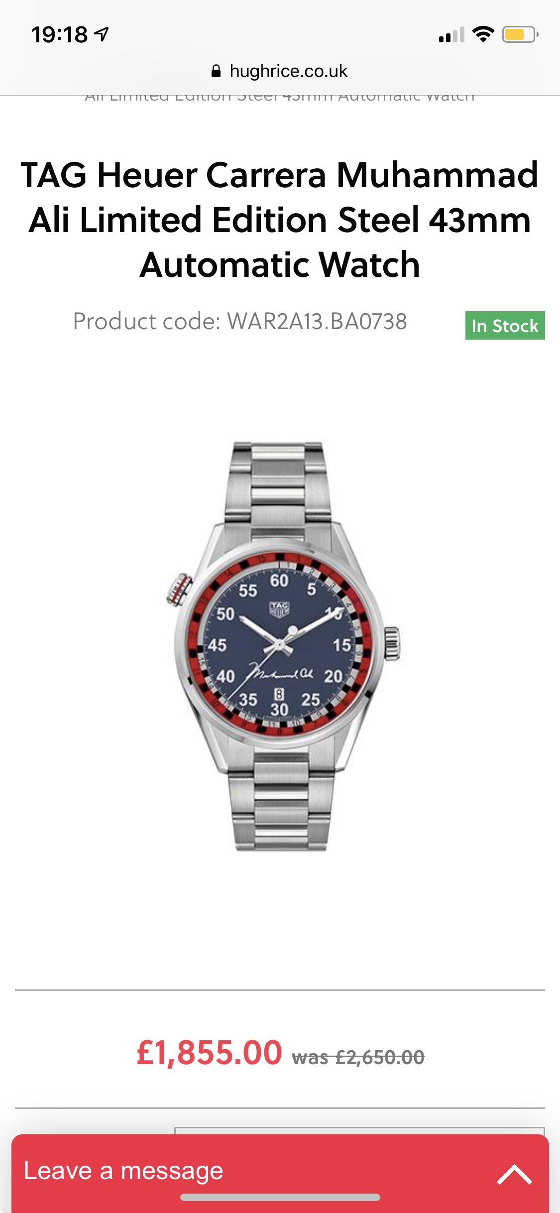 TAG Heuer Carrera Muhammad Ali Limited Edition Steel 43mm Automatic Watch £1855 @ Hugh Rice