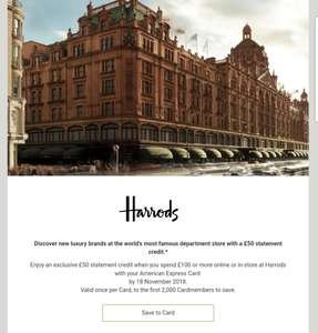 £50 statement credit with £100 spend at Harrods with AMEX
