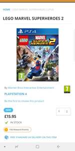 Lego Marvel Superheroes II for £16 PS4 £15.95 @ TGC