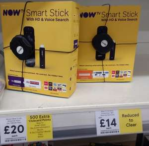 Now TV Smart Stick with HD & Voice Search and 2 months Entertainment PLUS 500 Clubcard Points for £14 instore @ Tesco