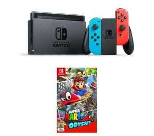 NINTENDO Switch Neon Red with Mario Odyssey / Donkey Kong / Tennis Aces Bundle @ Currys Ebay UK - £269.99 with code