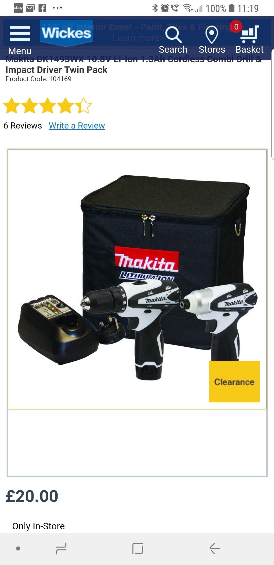 Makita DK1493WX 10.8V Li-Ion 1.3Ah Cordless Combi Drill & Impact Driver Twin Pack £20 @ Wickes
