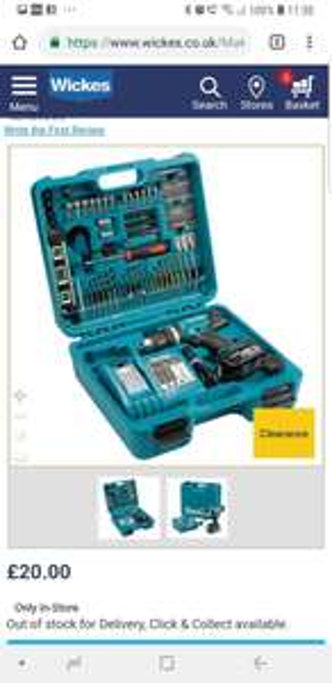Makita DHP453RFTK 18V Li-ion Combi Drill with 101 Piece Accessory Kit - £20 @ Wickes