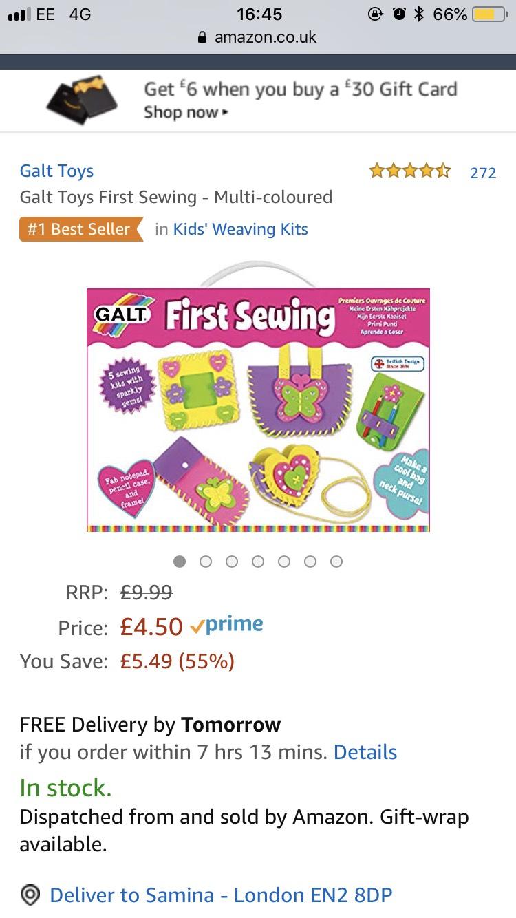 Galt first sewing kit £4.50 prime / £8.99 non prime @ Amazon