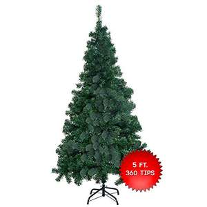 Premium Artificial Green Christmas Tree 5FT / 150CM with 360 Tips/Branches - includes Solid Metal Stand £13.99 @ The Twiddlers /  Amazon