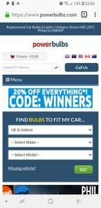 20% off everything for bulbs for your car @ Power Bulbs
