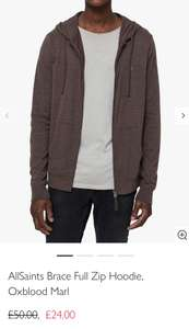 AllSaints Men's Brace Full Zip Hoodie Oxblood (All Sizes) £24 @ John Lewis