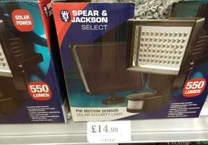 Pir motion sensor Solar security LED light 550 lumens by Spear & Jackson Select £14.99 in-store@ Home bargain Belle Vale Liverpool