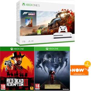 Xbox One S 1TB Console Forza Horizon 4 Bundle  + Red Dead Redemption 2  + Prey +  NOW TV 2 Months Entertainment Pass at Game for £229.99