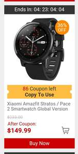 (App only) Xaiomi Amazfit Stratos smartwatch at Gearbest for £114