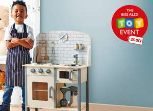 Aldi Toy Event Large wooden kitchen £29.99, giant sloths, bears or unicorns £12.99, Disney books £2.99 free del on £20 / £2.95 under @ Aldi