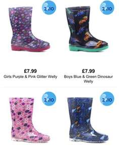 2 pairs of kids wellies/slippers £10 free delivery and c+c @ shoe zone